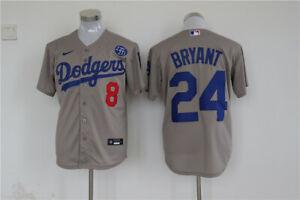 Men's Los Angeles Dodgers #24 Kobe Bryant Grey KB Patch MLB Cool ...