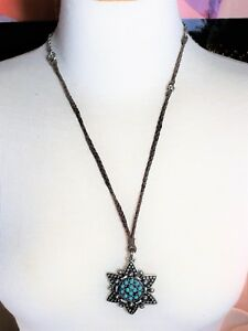 Lucky-Brand-Necklace-Faux-Turquoise-Stars-Flower-Vintage-Suede