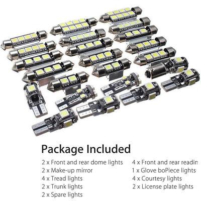 12V License Plate Compartment Reading Light Set LED White Car Inside Light Kit