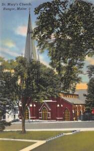 St-Mary-039-s-Church-Bangor-Maine-ca-1940s-Vintage-Linen-Postcard