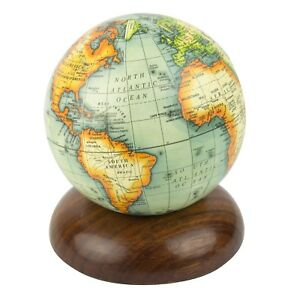 Globe on Wooden Pedestal Terrestrial World Globe 10cm
