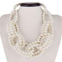 White Pearl Beads Cluster Knot Chain Choker Chunky Statement Bib Women Necklace