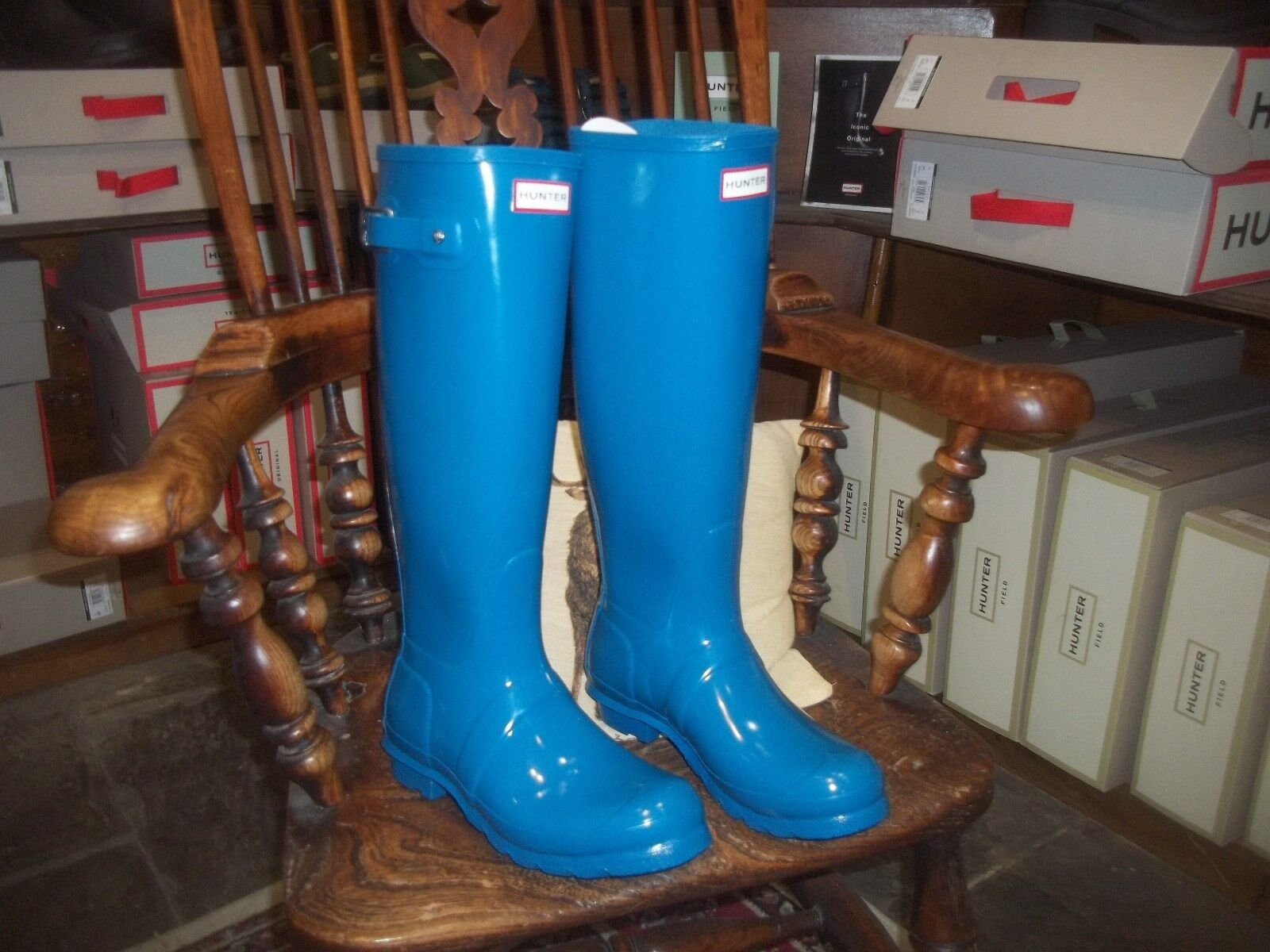 GLOSS HUNTER  WELLINGTONS IN HALIFAX SIZE 6 OCEAN blueE TALL ORIGINAL WOMENS