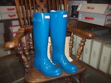 GLOSS HUNTER  WELLINGTONS IN HALIFAX SIZE  7 OCEAN BLUE TALL ORIGINAL WOMENS