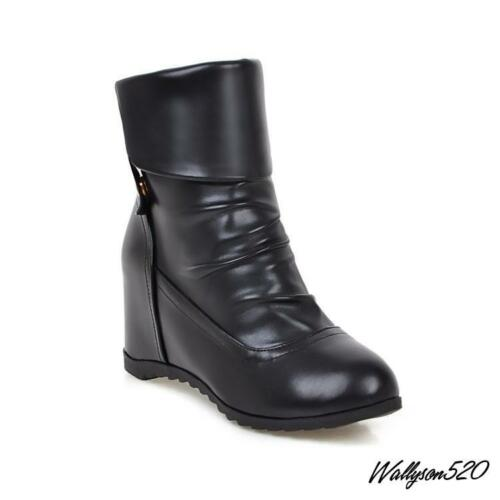 Womens Ladies Round Toe Knight Shoes Comfy Pull On Wedge Hidden Ankle Boots HOT