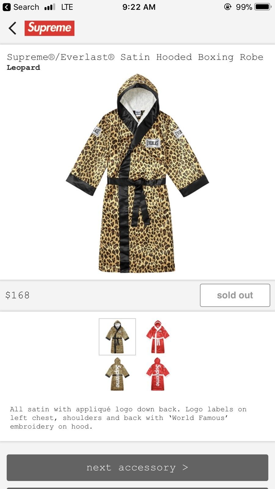 Supreme Everlast Satin Hooded Boxing Robe Leopard Cheetah SMALL Medium CONFIRMED