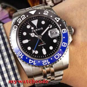 40mm-PARNIS-black-dial-Batman-ceramic-bezel-Sapphire-GMT-SS-automatic-mens-watch