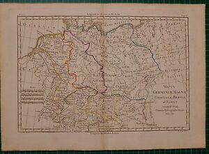 1780 DATED RIGOBERT BONNE MAP ~ GERMANY VINDELICIAE RHAETIAE HAND COLOURED