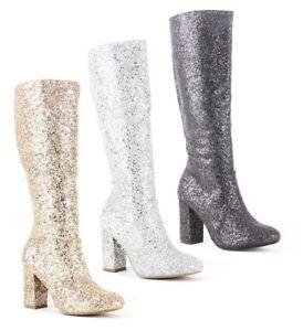 Mujer-senoras-Rodilla-Alto-Brillo-adornado-Glitz-Fiesta-Rodilla-Botas-Zapatos-Talla