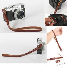 Fotocamera in vera pelle Marrone a Mano Cinturino Da Polso Per Canon Nikon Olympus Panasonic