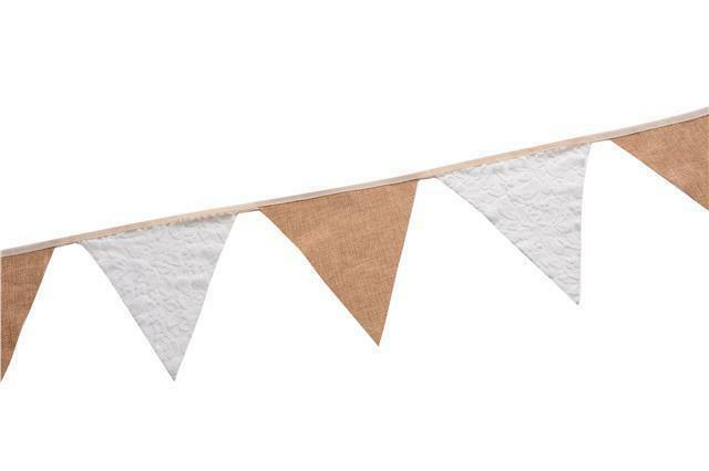 Rustic Jute Hessian Burlap Lace Bunting Shabby Chic Wedding Banner