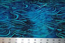 Robert Kaufman Batik Fabric, Totally Tropical 3, Ocean Wave Surf Blue Regatta