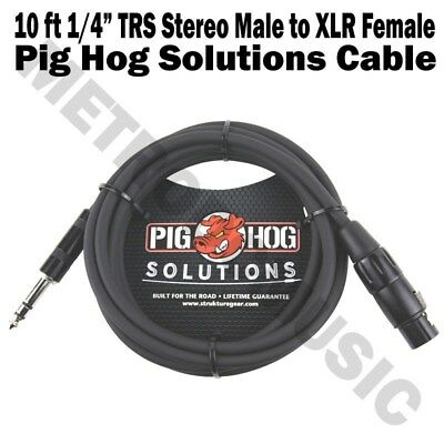 """Pig Hog 10ft 1//4/"""" TRS Stereo Male to XLR Female Balanced Adapter Cable Cord"""