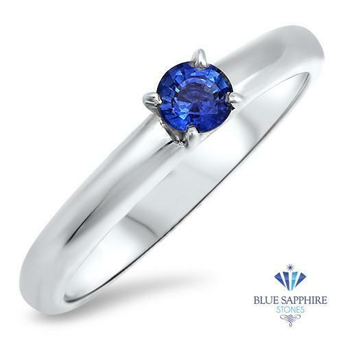 0.28ct Round Natural bluee Sapphire Ring in 14K White gold