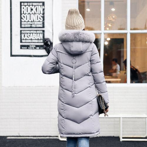 Women/'s Winter Coat Down Jacket Ladies Fur Hooded Long Puffer Parka Outwear