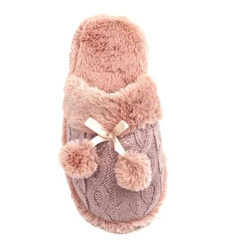 New Women Slipper Knitting Pom Pom Faux Fur house slipper