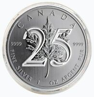 2013 25th Anniversary 1 Oz $5 Canadian Silver Maple Leaf Coin In Capsule