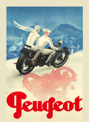 Peugeot Motorcycle Couple Poster Repro FREE SHIPPING