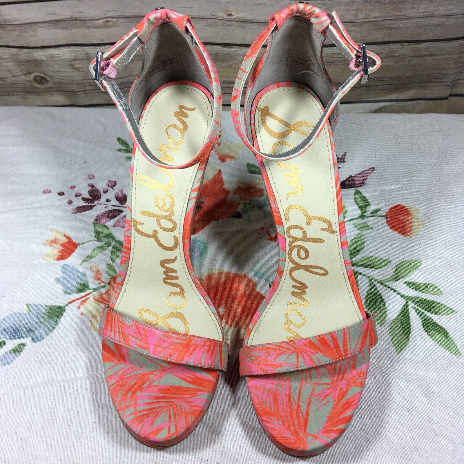Sam Edelman shoes Heels Eleanor Pink Palm Strappy Open Toe Womans Size 6 V15