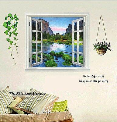 Huge Landscape Mountain Water Window View Wall Sticker Art Paper Vinyl Removable