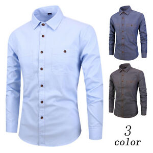 33068daad48 Men s Long Sleeve Shirt Cotton Youth Slim Casual Denim Style Shirt ...