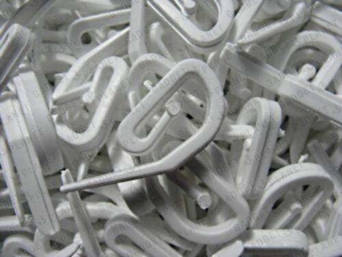 Rideau Crochets 500 pour anneaux de rideau /& en-tête Bande En Plastique Blanc Nylon Neuf