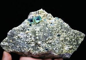 711g Beauty Green Cube Fluorite Phantom Crystal Calcite Mineral Specimen/China