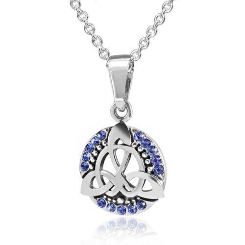 Materia Kettenanhänger Keltisch Knoten Silber 925 Anhänger Zirkonia blau