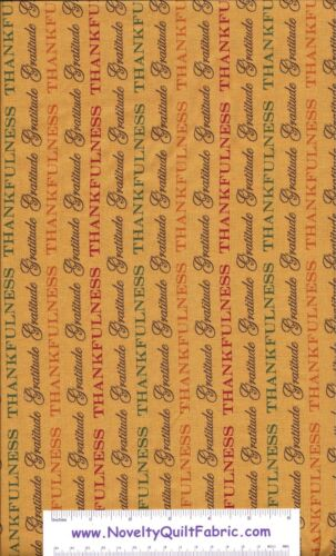 Give Thanks Gratitude Thanksgiving Yellow Wheat Novelty Quilt Fabric BTY