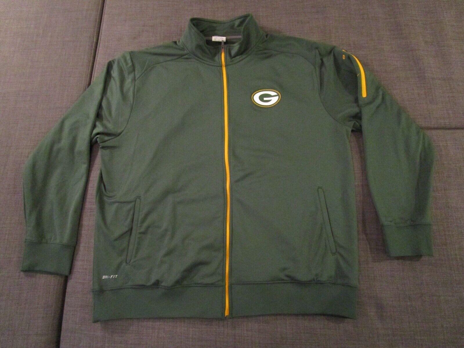 Nike OnField Dri Fit Green Bay Packers Full Zip Track Jacket Green Mens XXL 2XL