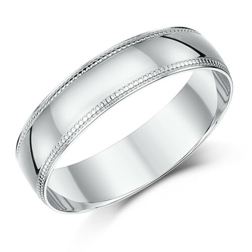9ct White Gold Ring Court Shape Millgrain Edge Wedding Band