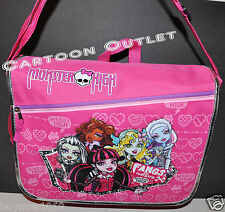 MONSTER HIGH MESSENGER BAG  BACKPACK BOOK BAG tote GHOUL GIRLS  SKULL PINK GIFT