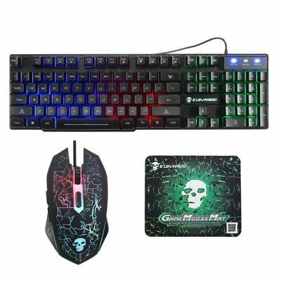 Rainbow LED Gaming Equipment Kit Light Keyboard & Mouse & Mouse Pad USB Charging