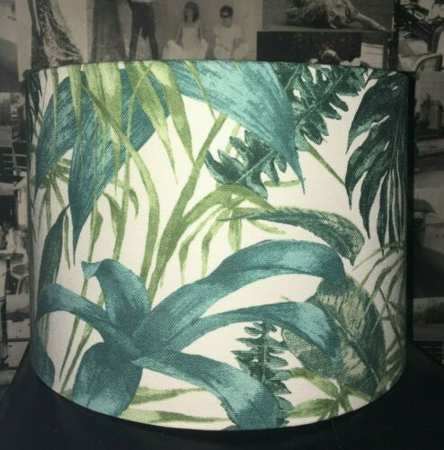 NEW HANDMADE LAMPSHADE PALM LEAVES TEAL TROPICAL LEAF
