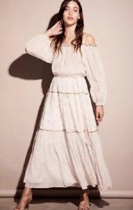 NEW Lionel Lily X Free People Esmeralda Ivory Gold Maxi Peasant Dress  Sz S