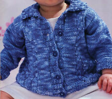 Knitting pattern-Baby Collared Cable Cardigan in DK fits Birth-7 years