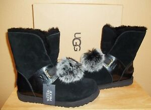 50363f2f692 Details about UGG Australia Isley Big Kids Girls Blk Waterproof Winter Pom  Pom Boots New US 6