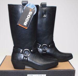 BOGS DAKOTA 71419 TALL black WESTERN RUBBER WATERPROOF RAIN harness BOOTS 8 39