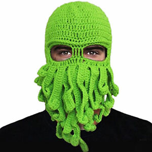 13c98b4a7c2 Octopus Mask Beard Hat Squid Tentacle Ski Cap Hat Knit Cosplay ...
