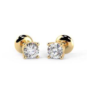 0-25-Carat-Round-Diamond-Push-Backs-Stud-Earrings-UK-Hallmarked-Yellow-Gold