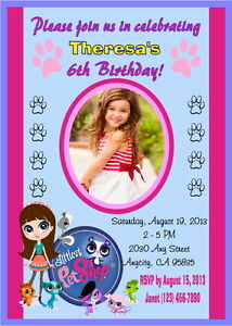 Details About Littlest Pet Custom Printable Birthday Party Invitation Free Thank U Card