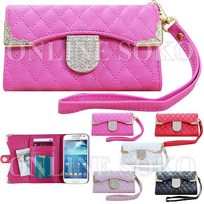 NEW DIAMOND BLING MAGNETIC WALLET PU LEATHER FLIP CASE COVER FOR SAMSUNG PHONES
