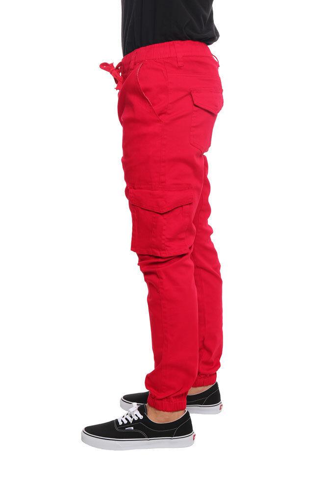 Victorious Men/'s Elastic Waist Drop Crotch Twill Cargo Jogger Pants JG805