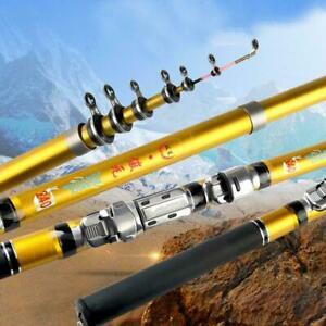 Telescopic Fishing Rod Carbon Fiber Fishing Pole Spinning Prof Metal ReelFi J2Z9