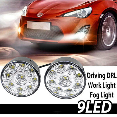 2x 9LED Round Daytime Running Light DRL Car Fog Lamp Headlight White