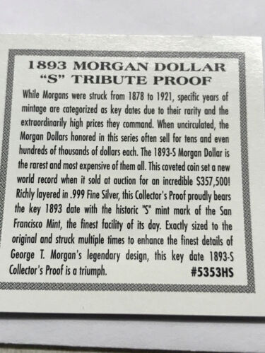 Million Dollar Morgans Token Tribute Proof Coin #13471