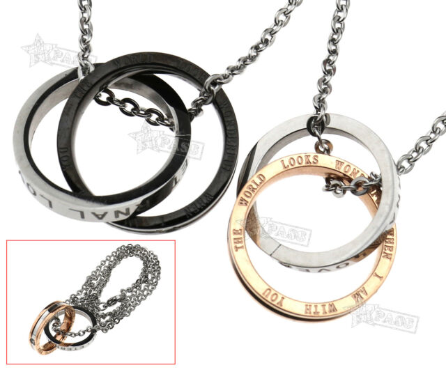 d2ece3abc0 Stainless Steel Love Promise Ring Couple Pendant Necklace Valentine Gift  Favour