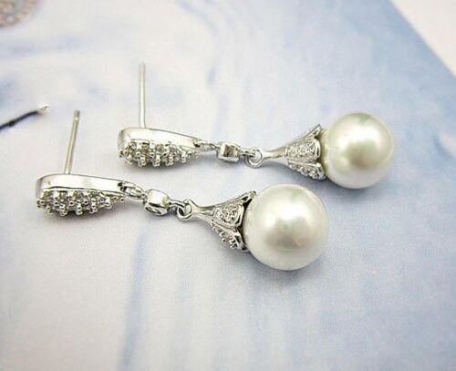 Bridal//Bridesmaid//Wedding White Pearl Sterling Silver Dangle Earrings