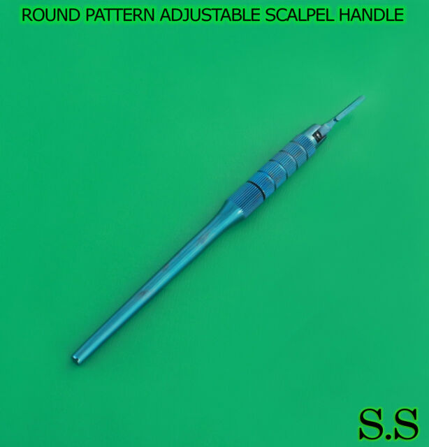 Round Pattern Adjustable 7 Ways Scalpel Handle #3 Blue Coated Surgical Dental