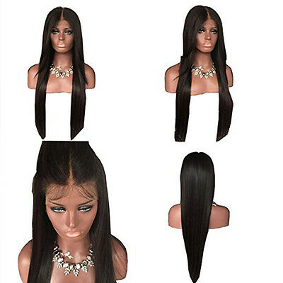 Black Women long Silky Straight Natural Black Lace Front Wig Heat Resistant